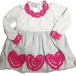 Iris & Ivy Striped Dress w/ Ruffle Heart Applique